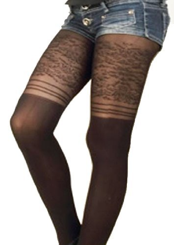 Ilitia French Floral Lace False Suspenders Stockings Sheer Pantyhose One Size, Black