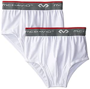 McDavid 9120 Classic Youth Brief with Cup Pocket 2 Pack (White, Large)