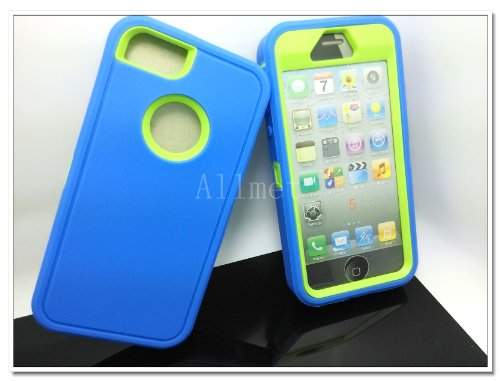 =>  Multi Color Iphone 5 5S Body Armor Silicone Hybrid Cove Hard Case, Three Layer Silicone PC Case Cover for iPhone 5 5S (Blue+Green)