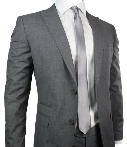Mens Slim Fit Suit Grey Self Stripe 2 Button Office Party or Wedding Suit UK Stock