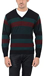 Aarbee Men's Woolen Sweater (Sweater LW06, Red, Green and Black, Small)