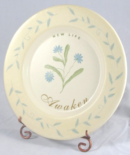 Russ Berrie A New Awakening Handpainted Stoneware Plate With Metal Stand (New Life Yellow)