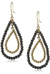 Mizuki 14k Double Tear-Drop Hoop Earrings with Gold and Silver Beads