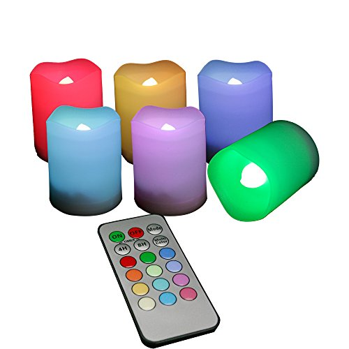 Candle Choice Set of 6 Indoor and Outdoor Remote Controlled Multi-color / Color Changing Flameless Votive Candles / LED Votive Candles /Battery-operated Candles
