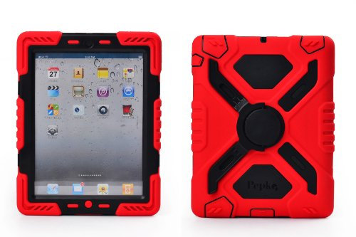 Pepkoo Ipad 2/3/4 Case Plastic Kid Proof Extreme Duty Dual Protective Back Cover with Kickstand and Sticker for Ipad 4/3/2 - Rainproof Sandproof Dust-proof Shockproof (Red/black)