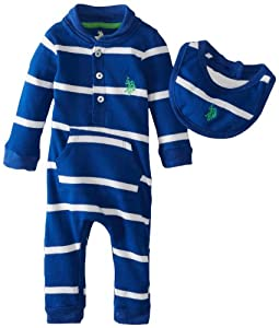 U.S. Polo Assn. Baby-Boys born Stripped Romper with Bib from U.S. Polo Assn.