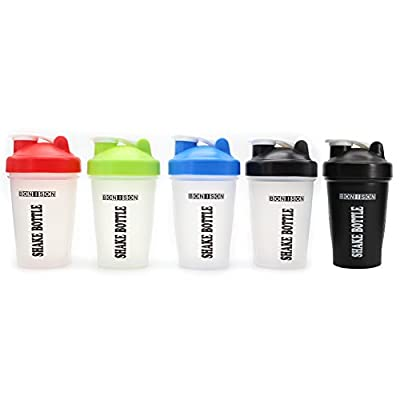 Bonison Mix Whip Blend & Shake Clear Classic Colored Screw Top Shaker Bottle Wire Whisk Sport Mixer Smoothie Protein Weight Loss Shakes & Powders