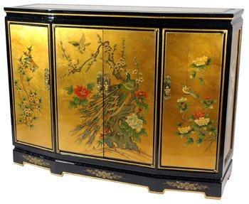 "Fine Asian Furniture & Décor - 40"" Ming Black Lacquer & Gold Leaf Slant Front Cabinet"
