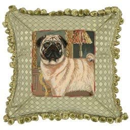 Pug Petit Point Pillow