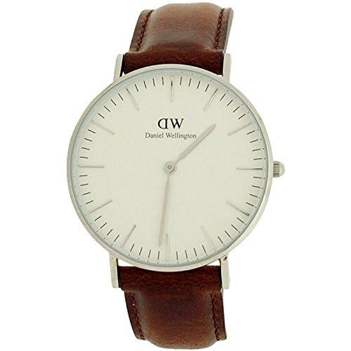 Daniel Wellington 0209W - Reloj de pulsera para hombre con esfera blanca y correa de piel de color negro
