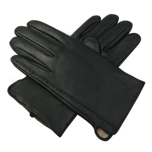 Luxury Lane Men's Cashmere Lined Lambskin Leather Gloves - Black L at Sears.com