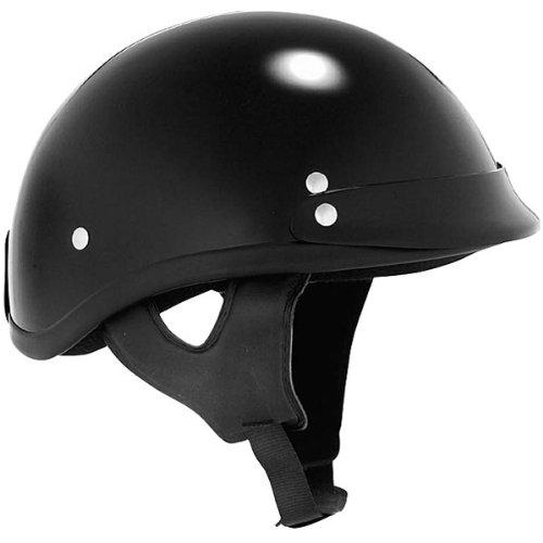 Skid Lid Solid Traditional Harley Motorcycle Helmet - Black / Large