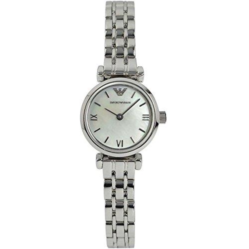 Emporio Armani  - Reloj de cuarzo para mujer, correa de acero inoxidable color plateado