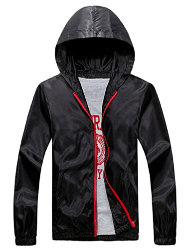Coofandy Fashion Lightweight Jacket Waterproof Outwear,Black,XX-Large