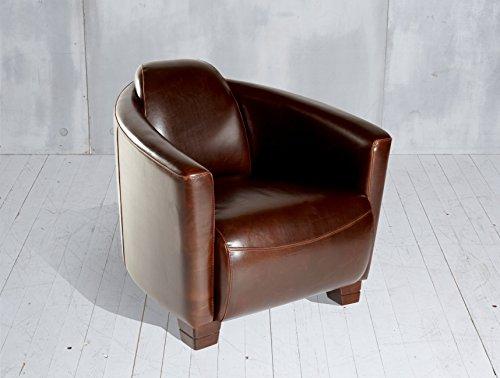 Ledersessel-braun-Clubsessel-Zigarrensessel-Sessel-Loungesessel-Relaxsessel-Echtleder-Retro-Vintage-Design