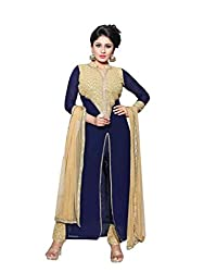 BanoRani Womens Navy Blue & Beige Color Faux Geogette & Chicken Embroidery UnStitched Dress Material (Pant Style)