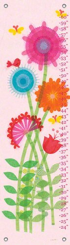 Oopsy Daisy Garden Flowers and Bird by Libby Ellis Growth Charts, 12 by 42-Inch