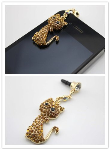 Nine States Crystal Bling Rhinestone Cute Cat 3.5Mm Headphone Jack Anti Dust Plug Ear Cap For Apple Iphone 5,4,4S,Ipad ,Ipod Touch ,Samsung Galaxy S3 S4 Note 2 Note2,Htc,Blackberry And Other Cellphone