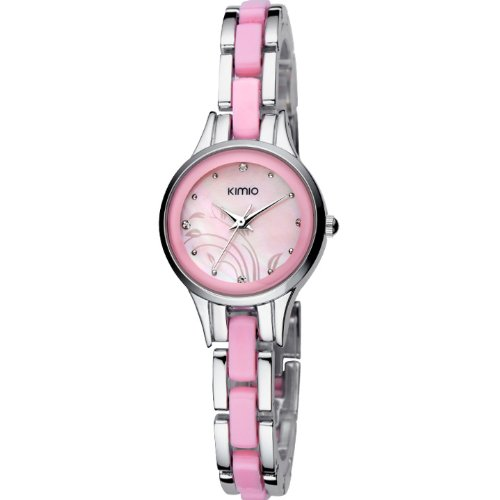 Ufingo-Korean Fashion Popular Elegant Nice Fine Bracelet Wrist Watch For Women/Ladies/Girls-Silver Pink