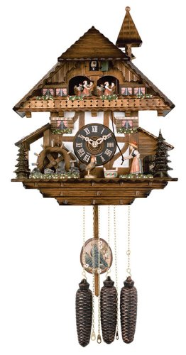 River City Clocks MD856-13 Eight Day Musical Cuckoo Clock with Dancers, Woman Rings Bell And Waterwheel Turns, 13-Inch Tall