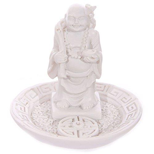 Blanco redondo de Buda chino quemador de incienso