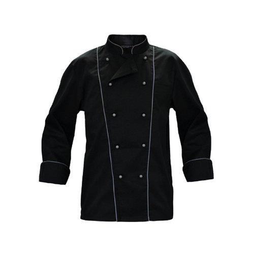 giacca-casacca-da-cuoco-chef-cotone-nera-con-bordature-grigio-o-nere-ristorante