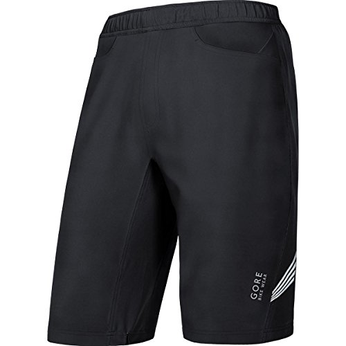 GORE BIKE WEAR Men's 2 in 1 Knee-length Cycling Shorts, Integrated inner lining with seat padding, GORE Selected Fabrics, ELEMENT 2in 1 Shorts+, Size L, Black, TSPELE Gore Cycle Shorts