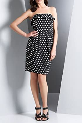Autograph Polka Dot Strapless Dress [T42-1209-S-LCTB]