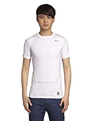 Nike 449792-100 Core Compression SS 2.0 Polyester Running T-Shirt, Men's Large (White)