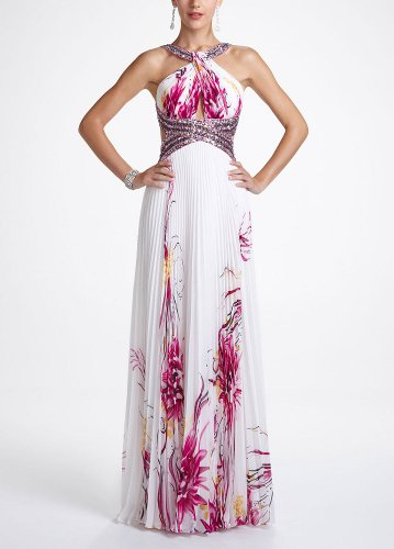 Cheap David's Bridal Long Chiffon Floral Print Prom Dress Style 8705 ...