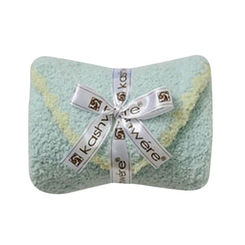 Kashwere Baby Set: Blanket & Cap - Aqua w/Green Trim