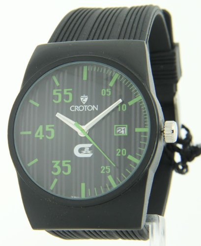 Croton Men's Green Markers Black Striped Rubber Sport Series Quartz Date Watch CX328016BSGR