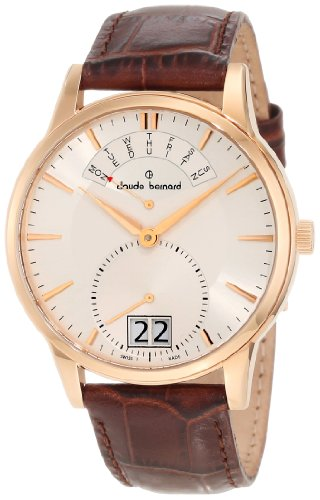Claude Bernard Men's 34004 37R AIR Classic Gents Rose Gold PVD Leather Big Day Date Watch