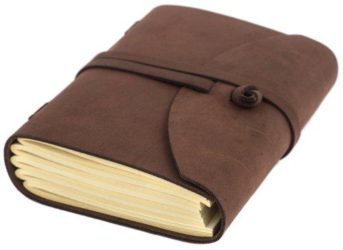 INDIARY Luxusnotizbuch aus echtem Leder und handgeschöpftem Papier Wildleder-A5-Braun