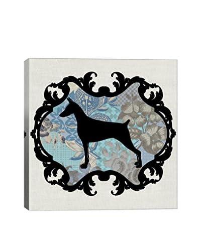 Doberman Blue & Black I Gallery Wrapped Canvas Print
