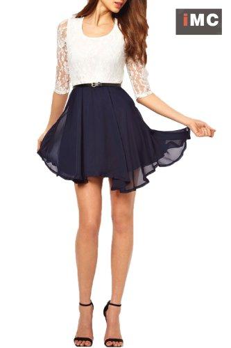 Imixcity Women's Lace Chiffon Mini Belt Dress