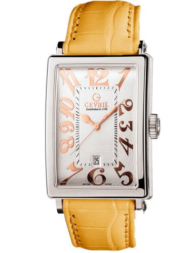 Gevril Women's 7045R.79 White Guilloched Dial Genuine Alligator Strap Watch