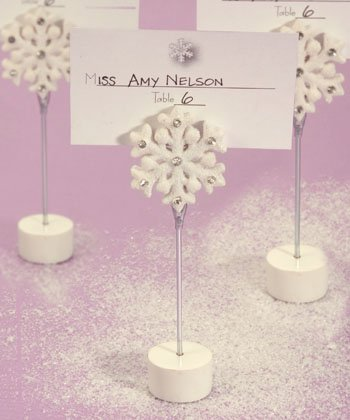 Winter Theme Place Card Holder Wedding Favors - Snowflakes, 36