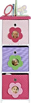 Altra Furniture 3-Bin Kids Storage Unit Pink with Flower Theme