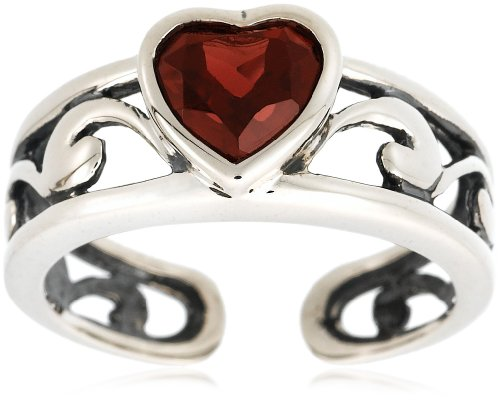Sterling Silver Heart-Shaped Celtic Garnet Ring, Size 5