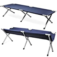 LYNCOL Single Folding Aluminum Camping Bed Camp Travel Outdoor Bed (Navy) from LYNCOL