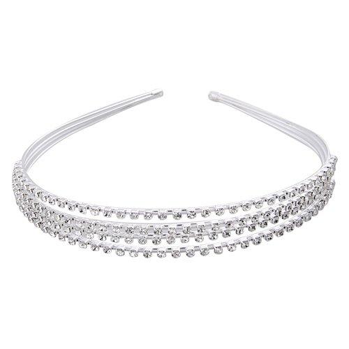 Skyllc® Moda e bella argento placcato 4 Row fascia di cristallo Wedding dei capelli Fascetta