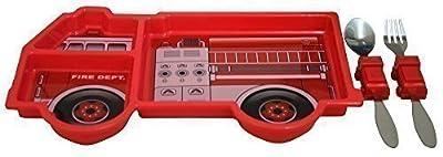 Kinder-Teller mit Besteck 28 x 14 cm - Feuerwehrauto Feuerwehr - (70521)