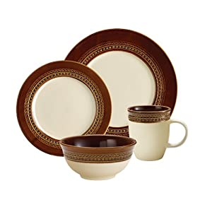 Paula Deen Signature Dinnerware Southern Gathering 4-Piece Dinnerware Place Setting Set, Chestnut