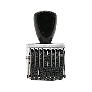 Traditional 8 Digit Rubber Number Stamp, Type Size 1, Black (RN018)