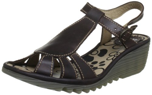 Fly London Women's Oily Dark Brown T Straps P500384005 8 UK