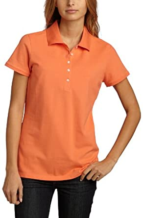 IZOD Women's Solid Polo Shirt,Melon Pop,Small