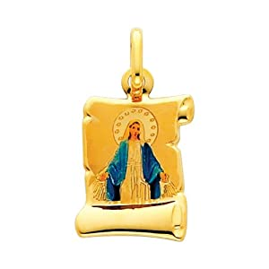 14K Yellow Gold Religious Blessed Virgin Mary Enamel Picture Charm Pendant