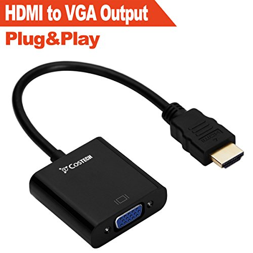 HDMI to VGA Output, Costech HD 1080p Gold-plated Active TV AV HDTV Video Cable Converter Adapter Plug and Play for HDTVs, Monitors, Displayers,Laptop Desktop Computer (Black)