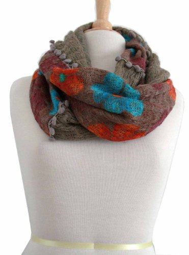 Infinity Scarf Fall Winter Flower Print With Mini Pom Pom Trim Beautiful Color!